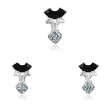 Mahi Rhodium Plated Chic Pendant Set with Swarovski Elements