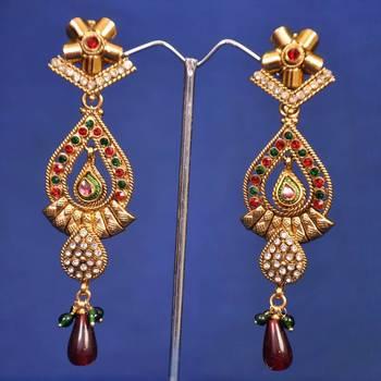 Red Green Dangler Long Earrings