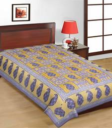Buy Multicolor Check Design Sanganeri Print Pure Cotton Single Bedsheet bed-sheet online