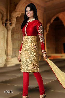 c2e7fb1c44 Maroon and Golden embroidered Velvet unstitched salwar with dupatta -  AnBazaar - 573591