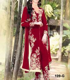 Buy Maroon and White embroidered Georgette unstitched salwar with dupatta dress-material online