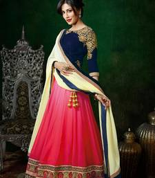 Buy pink pedding and off white georgette actresss bridal lehenga with blouse eid-lehenga online