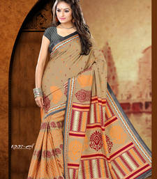 Buy Beige and Orange and Maroon printed crepe saree with blouse crepe-saree online
