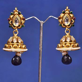 Golden White Fancy Jhumka Earring