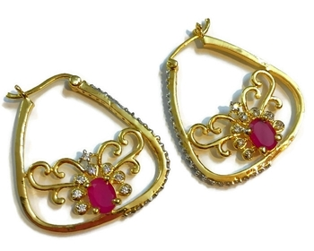 Divinique Jewelry Green Fashionable Ruby bali Earrings
