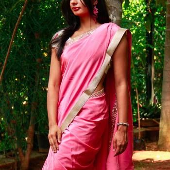 Pink Crepe Saree