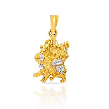 Mahi Gold Plated Ambe Mata Pendant with CZ