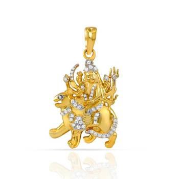 Mahi Gold Plated Sherawali Pendant with CZ