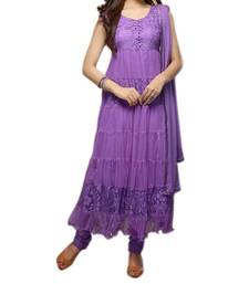 Buy Purple embroidered net semi stitched salwar with dupatta anarkali-salwar-kameez online