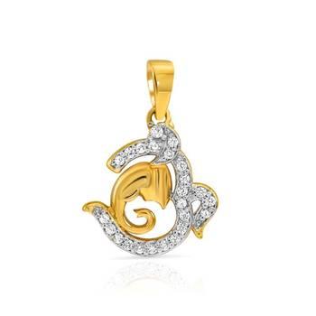 Mahi Gold Plated Om Ganpati Pendant with CZ