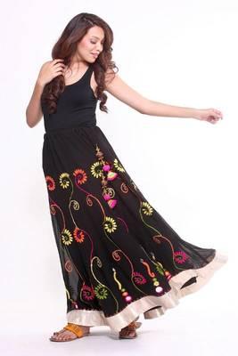 Ethnic Flared Multicoloured Skirt