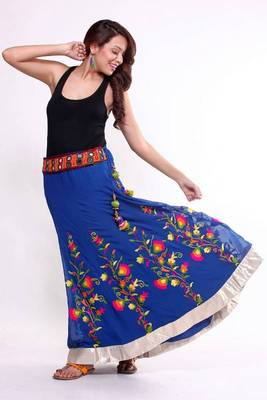 Ethnic Flared Multicoloured Skirt