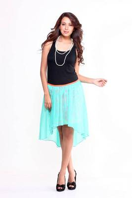 Ethnic Asymmetrical Layered Skirt