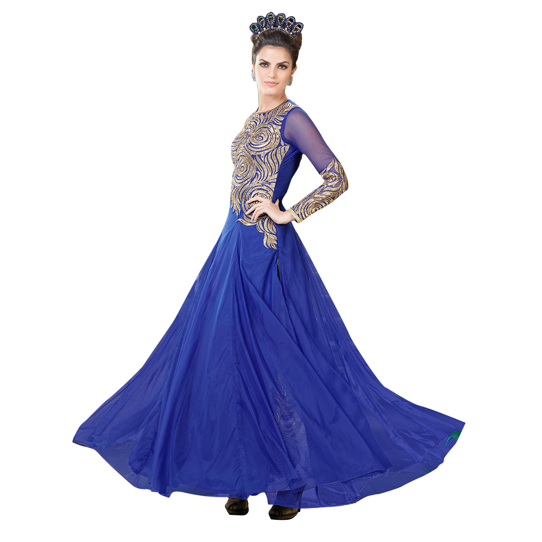 73cbf10ba28 Blue embroidered Net semi stitched party-wear-gowns - Stylish Bazaar -  576459