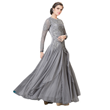 dae67855c2 Grey embroidered Net semi stitched party-wear-gowns - Stylish Bazaar -  576470