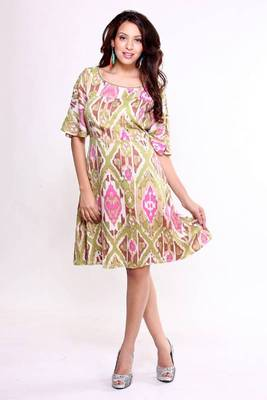 Ethnic Fusion Ikat Print Dress