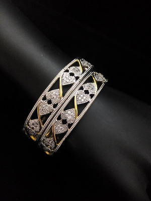 Gold Silver Heart Design Diamond Bangles
