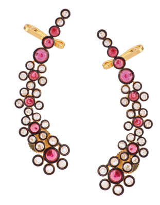 Floral Delight 18K Gold Plated Ruby Pink Polki  Ear Cuff Pair for Women