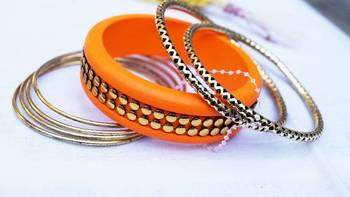 Morcrest Orange Studded Bangle Set