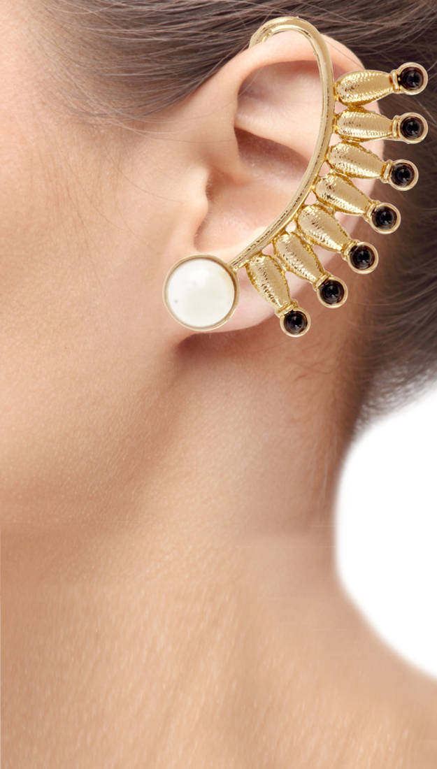 Buy Spike 18K Gold Plated Black Spinel Pearl Ear Cuff Pair ...