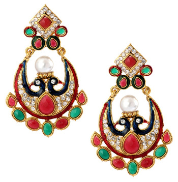Peacock 22K Gold Plated Red Blue Green Pearl CZ Dangling Earring for Women