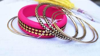 Morcrest Hot Pink Studded Bangle Set