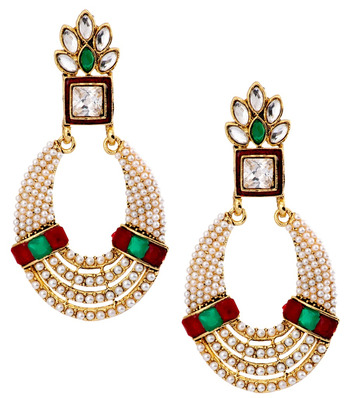 Oval Chaand Bali 22K Gold Plated Red Green Pearl CZ Dangling Earring for Women
