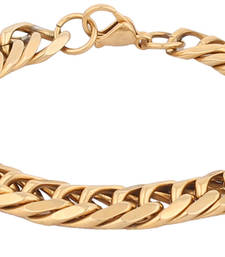 Classic 3D Curb 22K Gold Plated Surgical Stainless Steel Bracelet for Men