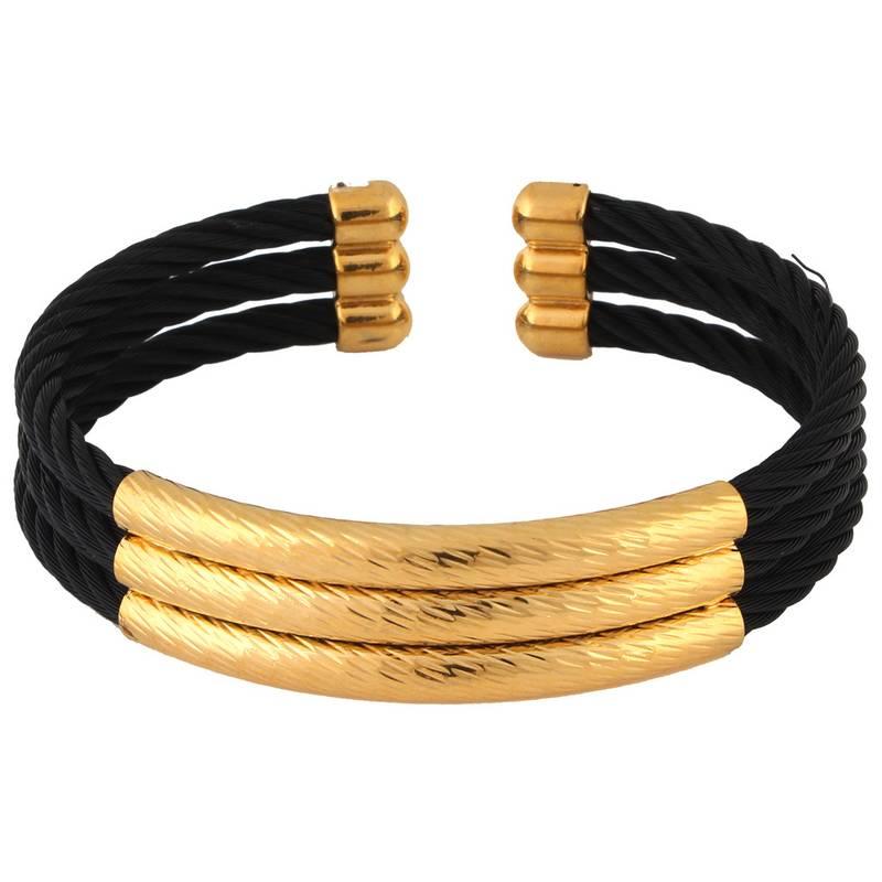 4943bc7e2e6b0 Wire mesh black gold plated free size cuff kada bracelet for men