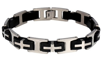 3D Cross Biker Black Silver Surgical Stainless Steel Bracelet for Men