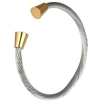 Rope Cone Free Size Rhodium 18K Gold Plated Surgical Stainless Steel Cuff Kada Bracelet for Men