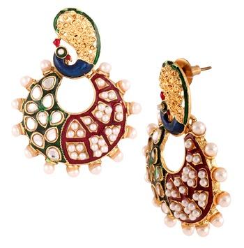 Peacock Chaand Bali 22 K Gold Plated Maroon Green Blue Pearl Jhumki Earring for Women
