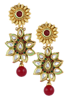 Flower 22K Antique Gold Plated Kundan Ruby Red Dangling Earring for Women