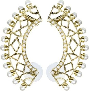 Filigree Gold PLated Pearl Ear Cuff Pair Earring For Women