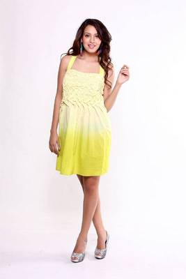 Ethnic Fusion Ombre Smocking Dress