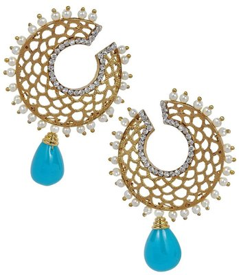 Filigree Chaand Gold Plated Blue Drop Earring for Women