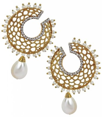 Filigree Chaand Gold Plated Pearl Drop Earring for Women