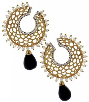 Filigree Chaand Gold Plated Black Drop Earring for Women