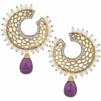 Filigree Chaand Gold Plated Purple Drop Earring for Women