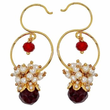Dew Drop Antique Gold Plated Ruby Red Garnet Wine Stud Earring for Women