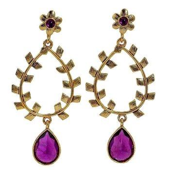 Filigree Amethyst Puple 18K Gold Plated Dangling Earring For Women