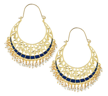Filigree Chaand Bali Antique Gold Plated Blue Meena Hoop Earring for Women