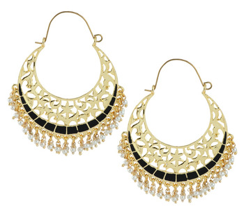 Filigree Chaand Bali Antique Gold Plated Black Meena Hoop Earring for Women