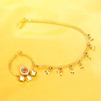 Ruby Kundan Meenakari Bridal Nose Ring