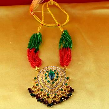 necklace gold platted stone meenakari cz ad moti pearl polki kundun