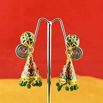 rajasthani earing gold platted stone meenakari cz ad moti pearl polki kundun