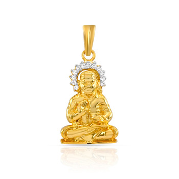 Mahi Gold Plated Sai-Baba Pendant with CZ