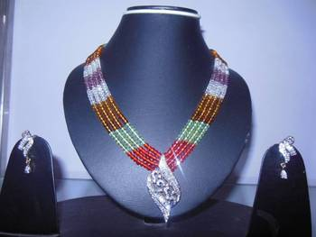 AD neckpiece in crystal chains