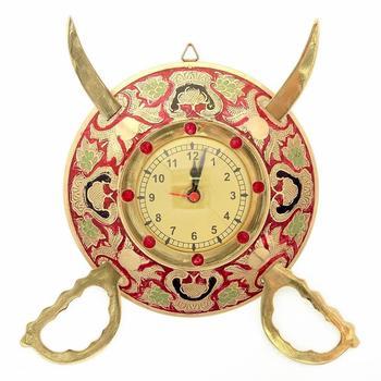 Rajasthani Real Brass Sword Armour Wall Clock
