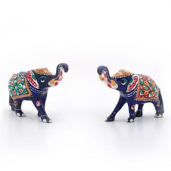 Enamel Work Pure Brass Elephant Pair Gift